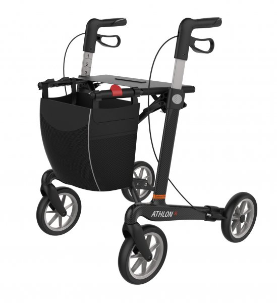 Rollator Rehasense Athlon SL Carbon Komfort mit Softrädern inkl. Gurt & Greifhilfe